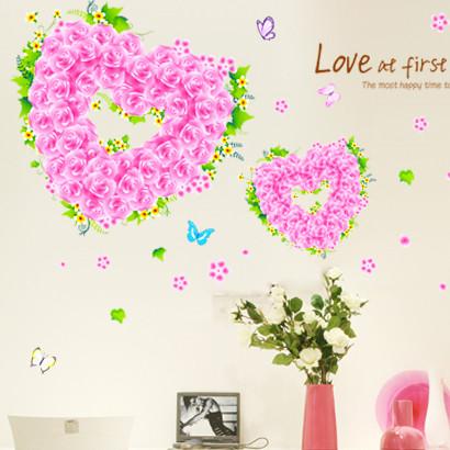 安曼爱心玫瑰平面墙贴植物花卉墙贴