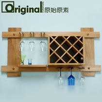 复古色原木色木质工艺拼板框架结构橡木悬挂简约现代 酒架