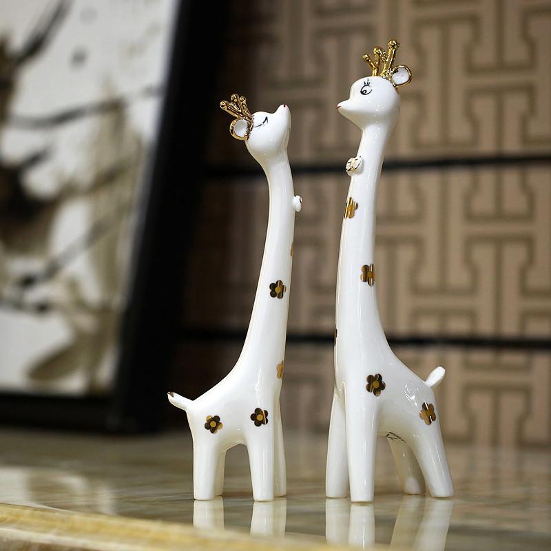 JK 君凯陶瓷 陶瓷动物桌面情侣梅花鹿摆件姻缘简约现代 摆件