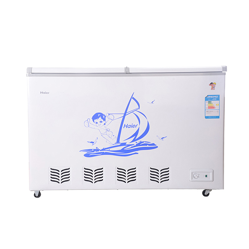 海爾 機械式定頻R600a直冷機械制冷對開門臥式冷柜1級 冷柜