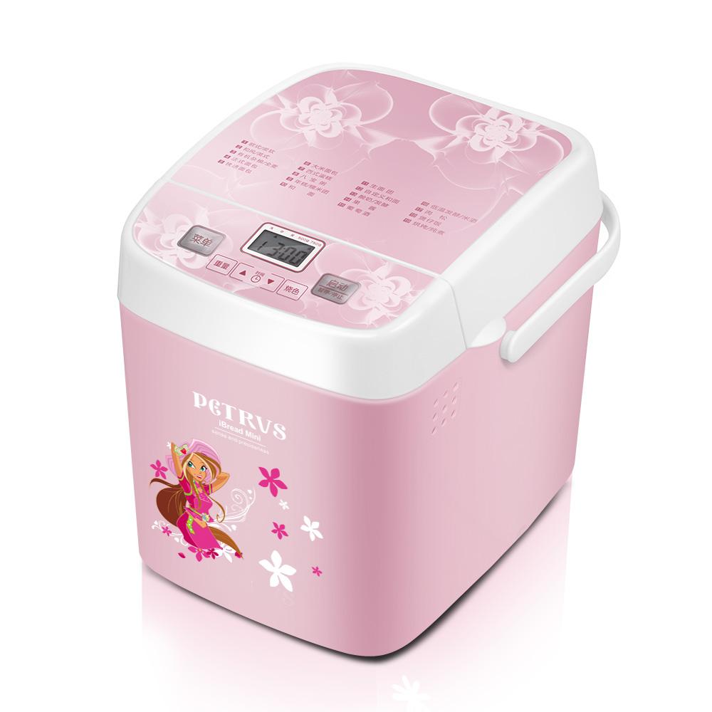 柏翠 粉红色单搅拌叶片塑料断电记忆功能保温和面电热管加热电脑式 面包机
