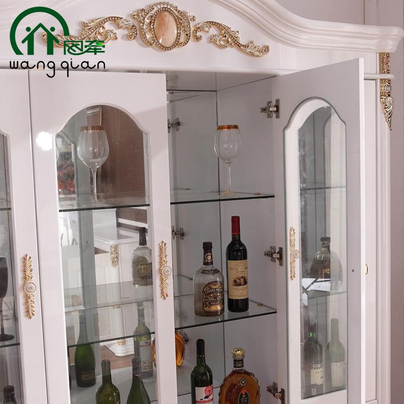 网牵 欧式奢华4门酒柜人造板细木工板玻璃框架结构储藏艺术 酒柜