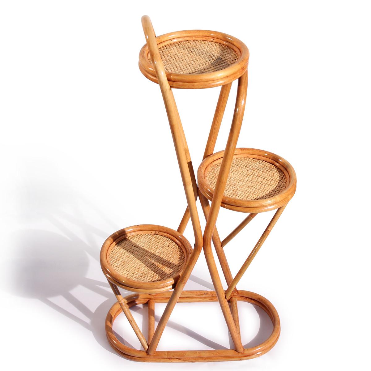 藤爵家具 缠接植物藤竹藤工艺曲木结构储藏艺术现代中式 花架