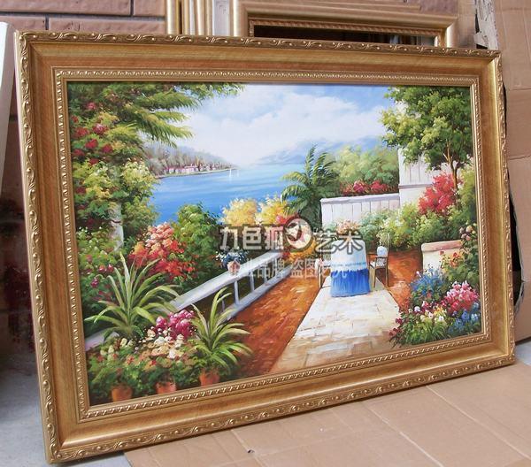 九色狐 01号金色实木框立体有框单幅风景手绘 油画