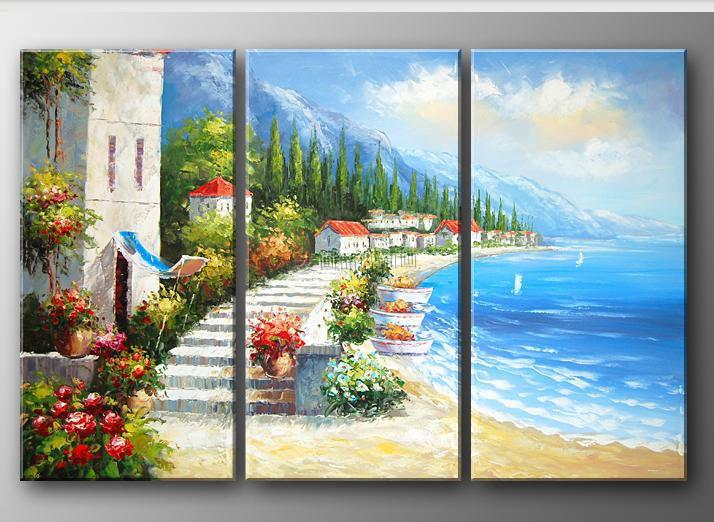 麦画 风景画平面无框组合手绘 油画
