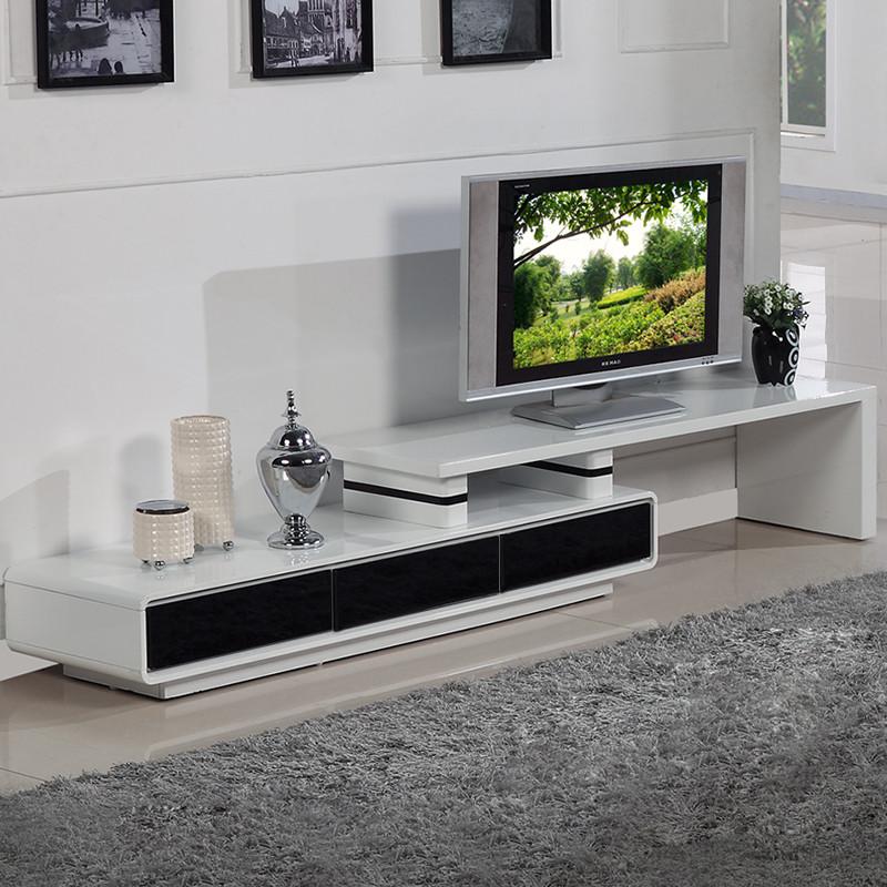 伸缩电视柜烤漆人造板框架结构抽象图案