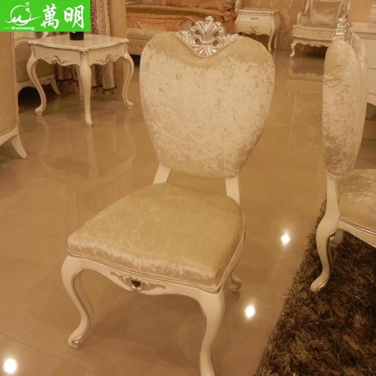 万明 白色木纯色布移动成人欧式 餐椅
