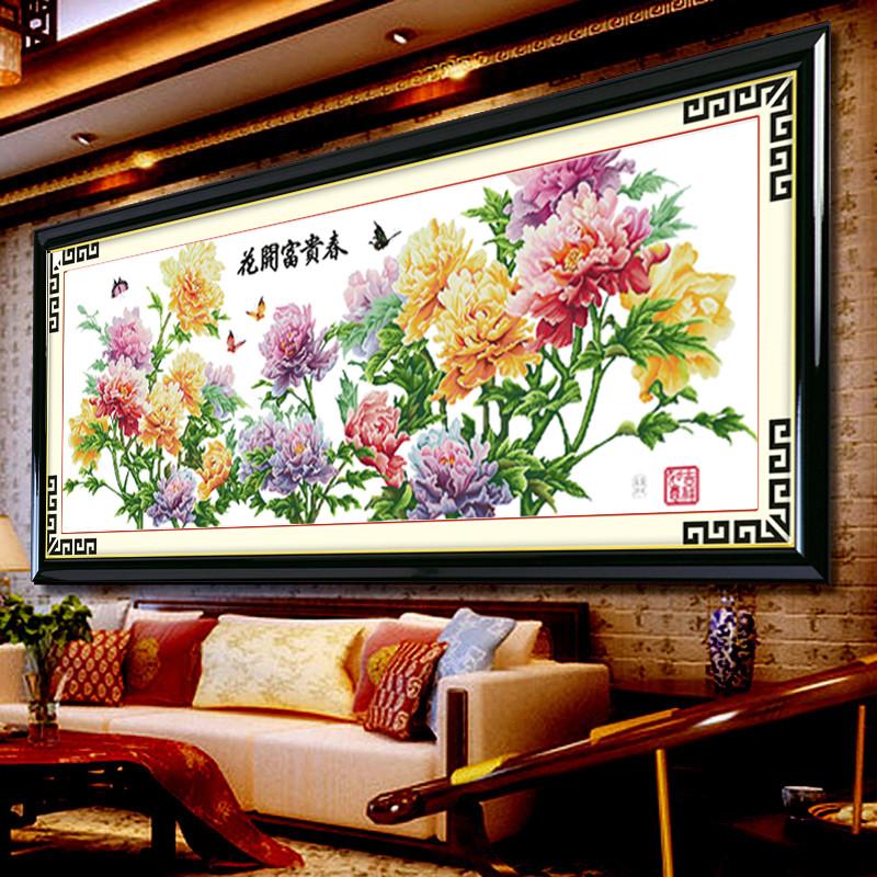 饰美居白色棉布成品植物花卉家居日用装饰简约现代十字绣