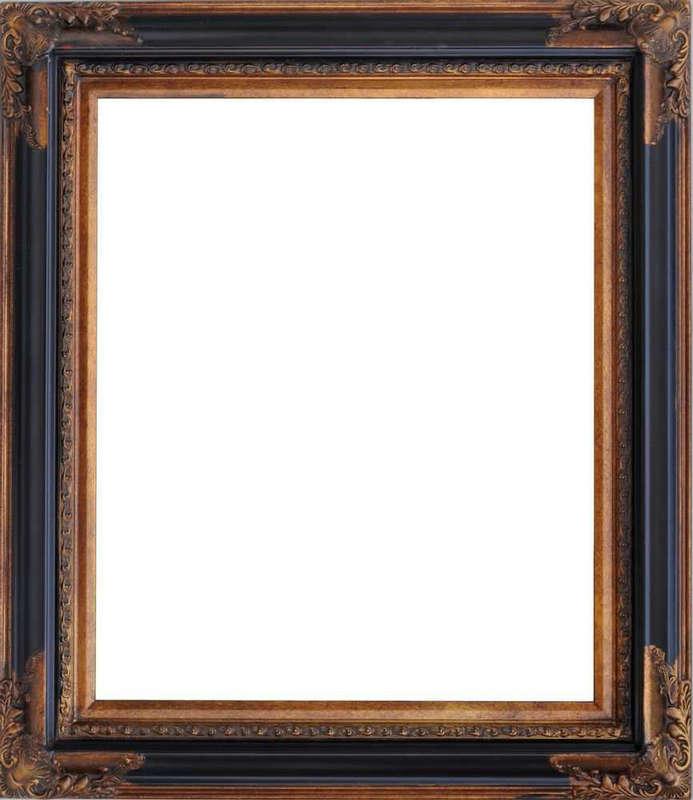 gs 黑色角花框木相框长方形欧式 相框