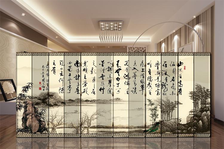聚乐 印花杉木面料工艺木质工艺榫卯结构复合面料文字现代中式 屏风
