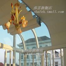 印花PVC亚麻拉珠拉绳电动遮光透光透景八角窗落地窗天窗简约现代 卷帘
