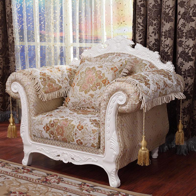 千品雅 木单人三人组合贵妃榻复合面料欧式 沙发图片