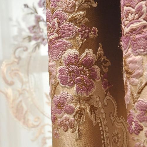 卓尼佳布装饰半遮光荡度棉涤纶混纺人造纤维植物花卉欧式窗帘