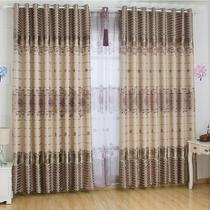 布帘+纱帘装饰+全遮光涤纶植物花卉叶子简约现代 窗帘