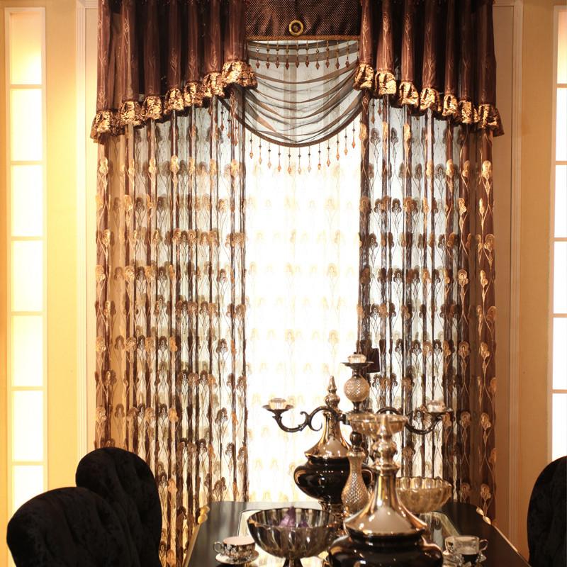 一米纱装饰半遮光平帷荡度涤纶植物花卉叶子几何图案欧式窗帘