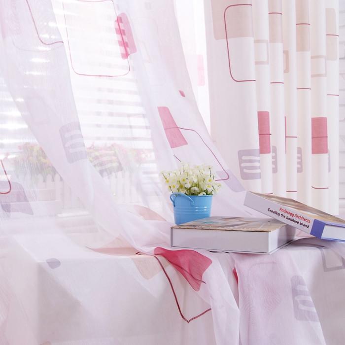 布之家布帘纱帘装饰半遮光格子几何图案普通打褶简约现代窗帘