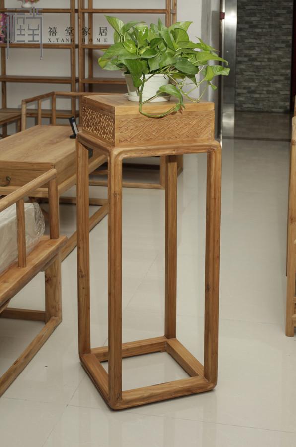禧堂家居 全榆木面板贴皮板木质工艺榫卯结构 花架