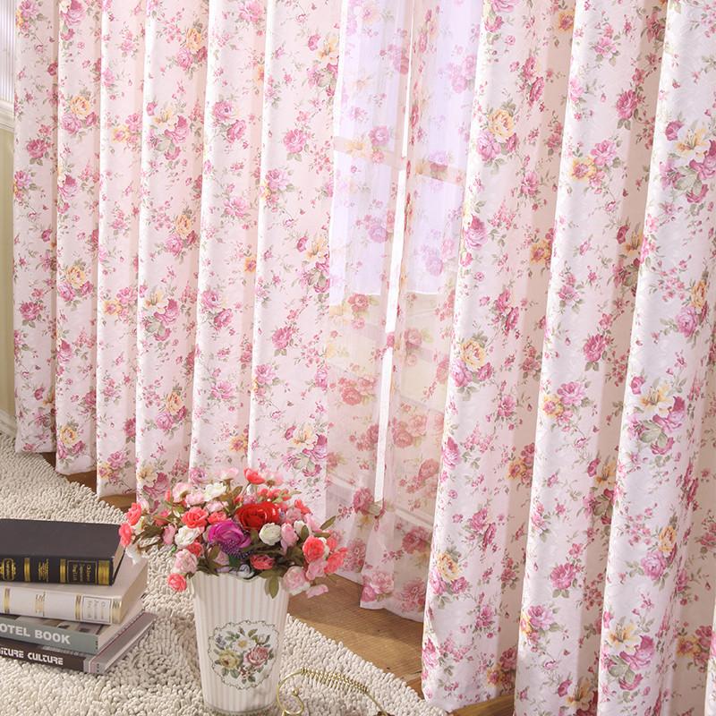 臻尚 布装饰 半遮光平帷涤纶植物花卉叶子风景喜庆普通打褶穿杆帘田园