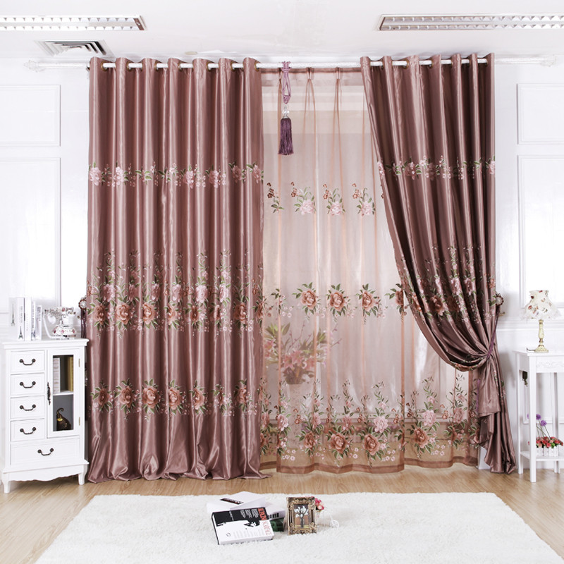 美帘美居 肉粉色布帘 纱帘装饰 全遮光涤纶植物花卉现代中式 窗帘