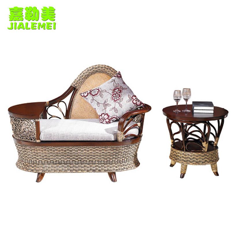 嘉勒美 角几电话椅弧形插接植物藤竹藤工艺移动抽象图案东南亚 贵妃椅