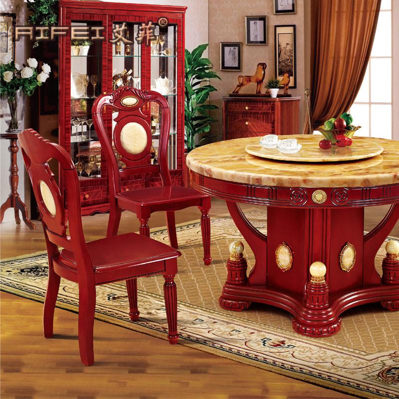 艾菲 组装大理石框架结构橡木圆形欧式 餐桌