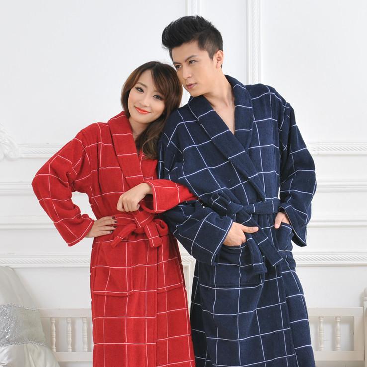 金铠笛蓝方格红方格白方格男浴袍
