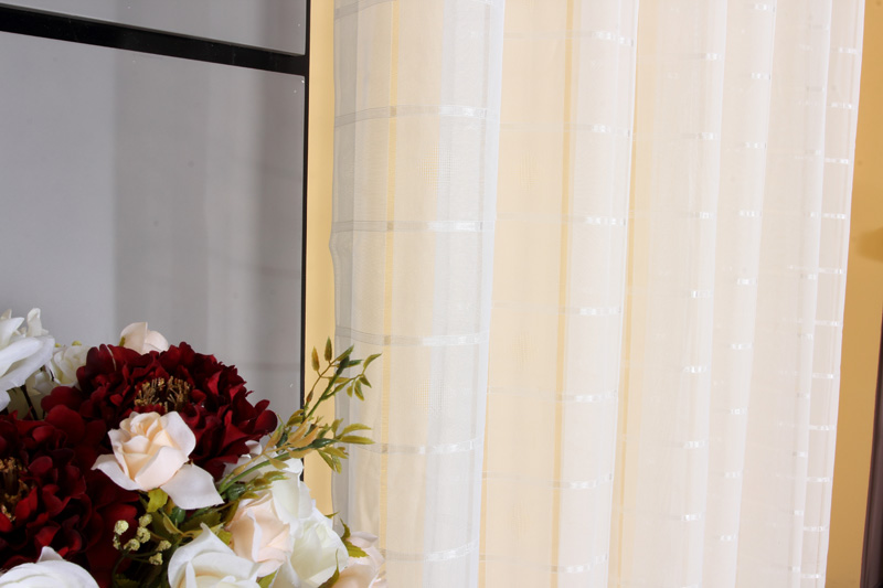 麦帘纱装饰半遮光涤纶混纺条纹格子几何图案普通打褶打孔帘韩式窗帘