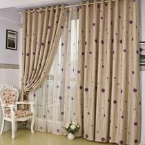 布帘+纱帘装饰+全遮光无涤纶普通打褶打孔帘简约现代 窗帘