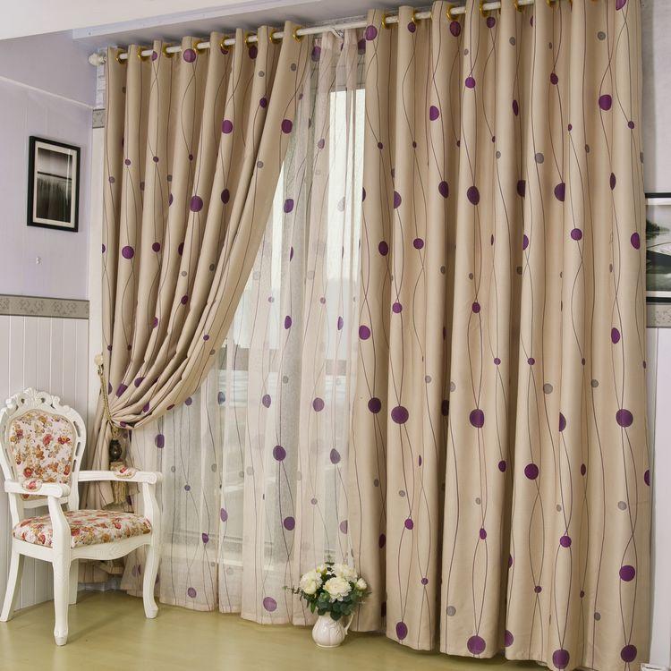 ?,斎?布簾+紗簾裝飾+全遮光無滌綸普通打褶打孔簾簡約現代 窗簾