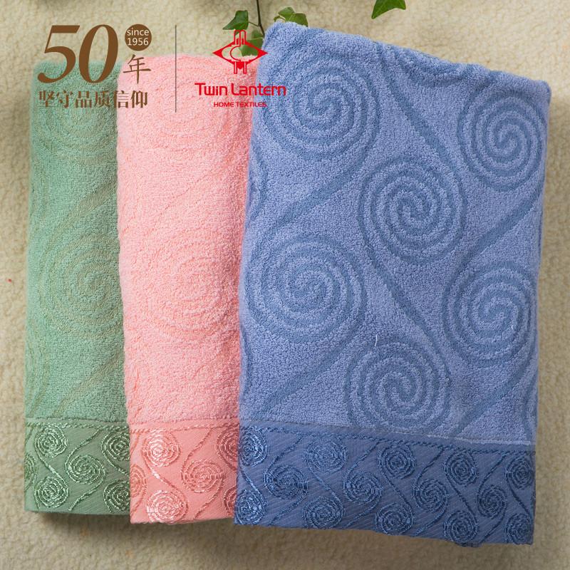 双灯 红色浅绿浅蓝 浴巾