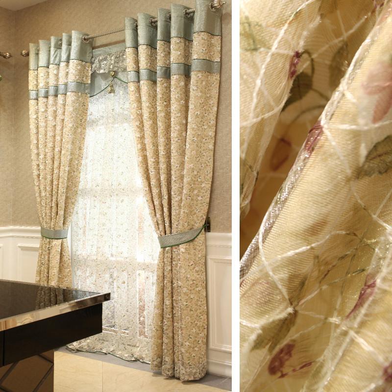 一米 布簾+紗簾裝飾+半遮光平帷蕩度滌綸混紡植物花卉葉子圓圈喜慶韓式 窗簾