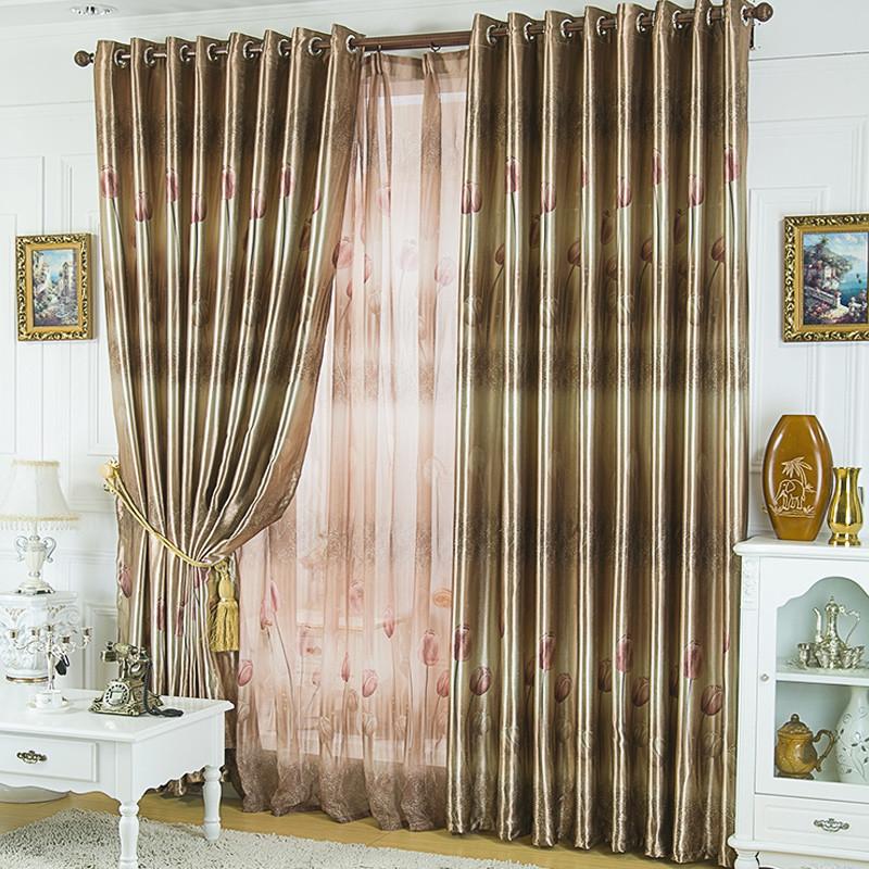 窗之侶 布裝飾+全遮光滌棉混紡普通打褶打孔簾歐式 窗簾
