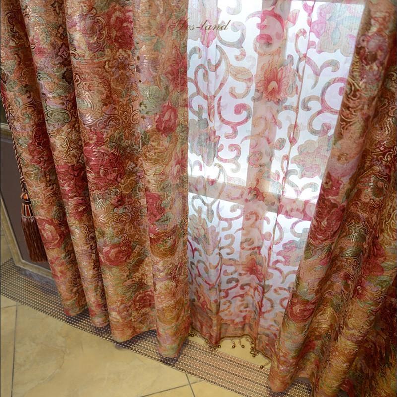 雅熙莱帝布帘纱帘装饰半遮光平帷荡度涤纶混纺人造纤维植物花卉草叶子条纹欧式窗帘