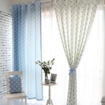 布装饰+半遮光涤纶圆圈韩式 窗帘