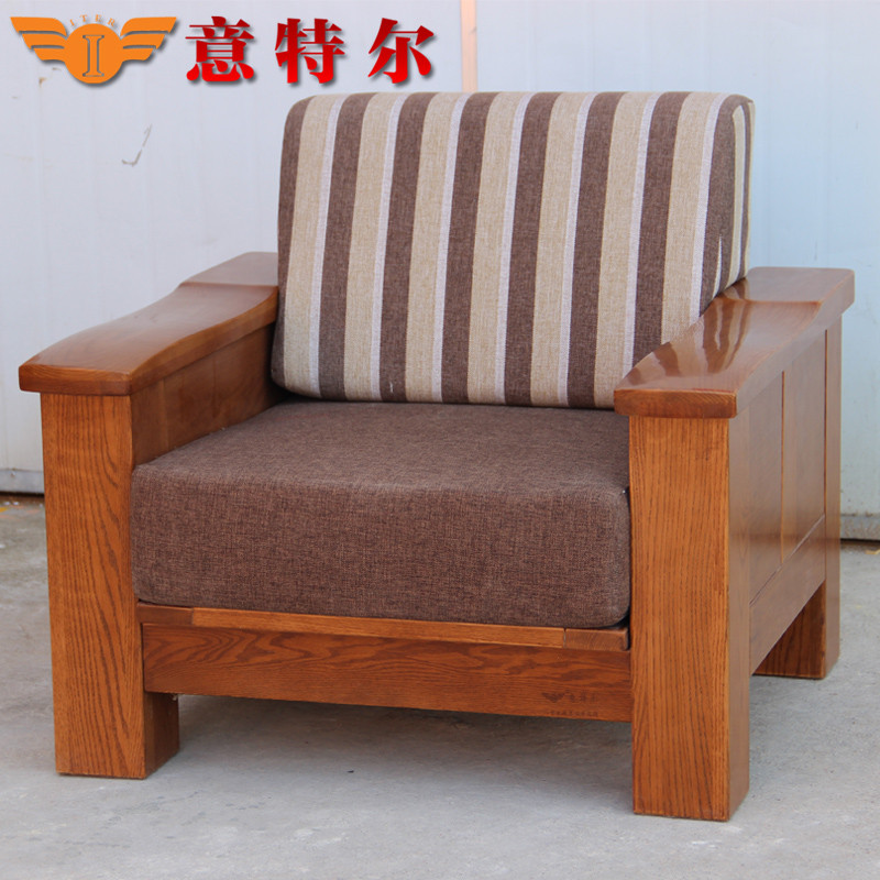 浅胡桃色u形植绒面料工艺榫卯结构橡木拆装棉海绵现代中式 沙发