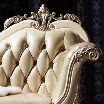 真皮皮革橡胶木欧式 贵妃椅