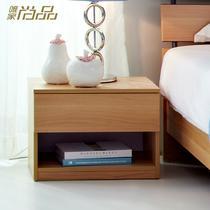 枫木纹梨木色刨花板/三聚氰胺板框架结构储藏成人简约现代 床头柜