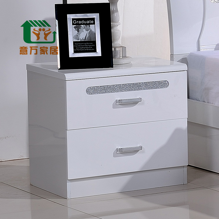 意万家居 白色人造板密度板/纤维板箱框结构储藏风景成人简约现代 床头柜