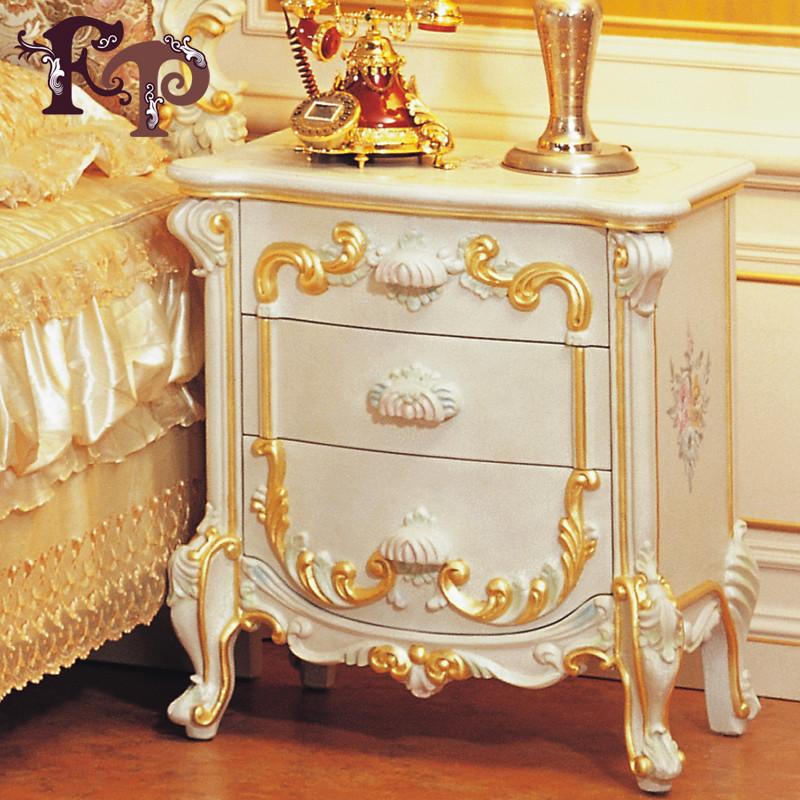 黄裂上彩贴金框架结构橡胶木储藏各国风情成人欧式床头柜