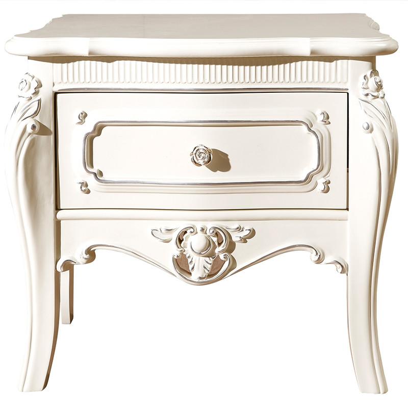 艾菲娅 人造板刨花板/三聚氰胺板箱框结构推拉儿童新古典 床头柜