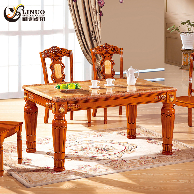 丽诺威轩 组装大理石支架结构橡木拆装艺术长方形欧式 f388餐桌