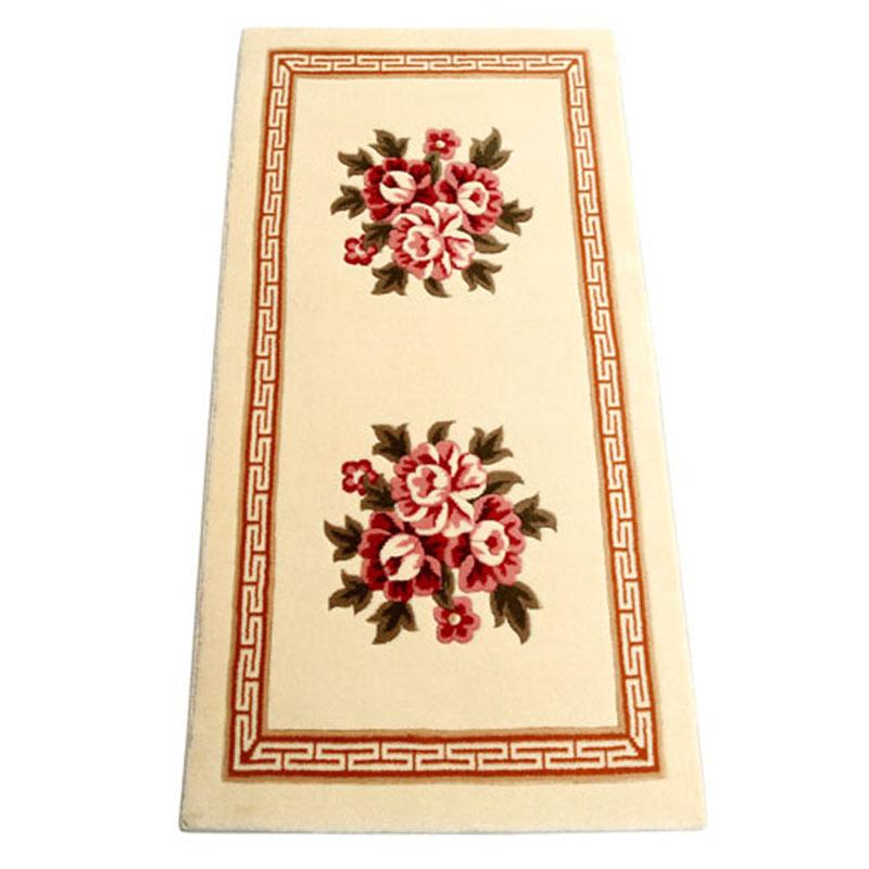 红叶 驼色羊毛现代中式植物花卉长方形中国风手工织造