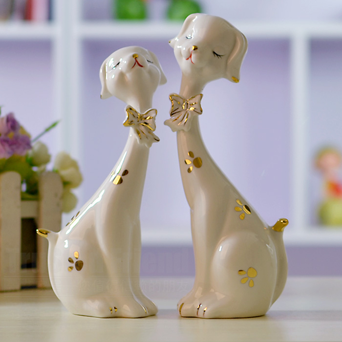 恒瓷美 陶瓷动物桌面摆件姻缘 摆件