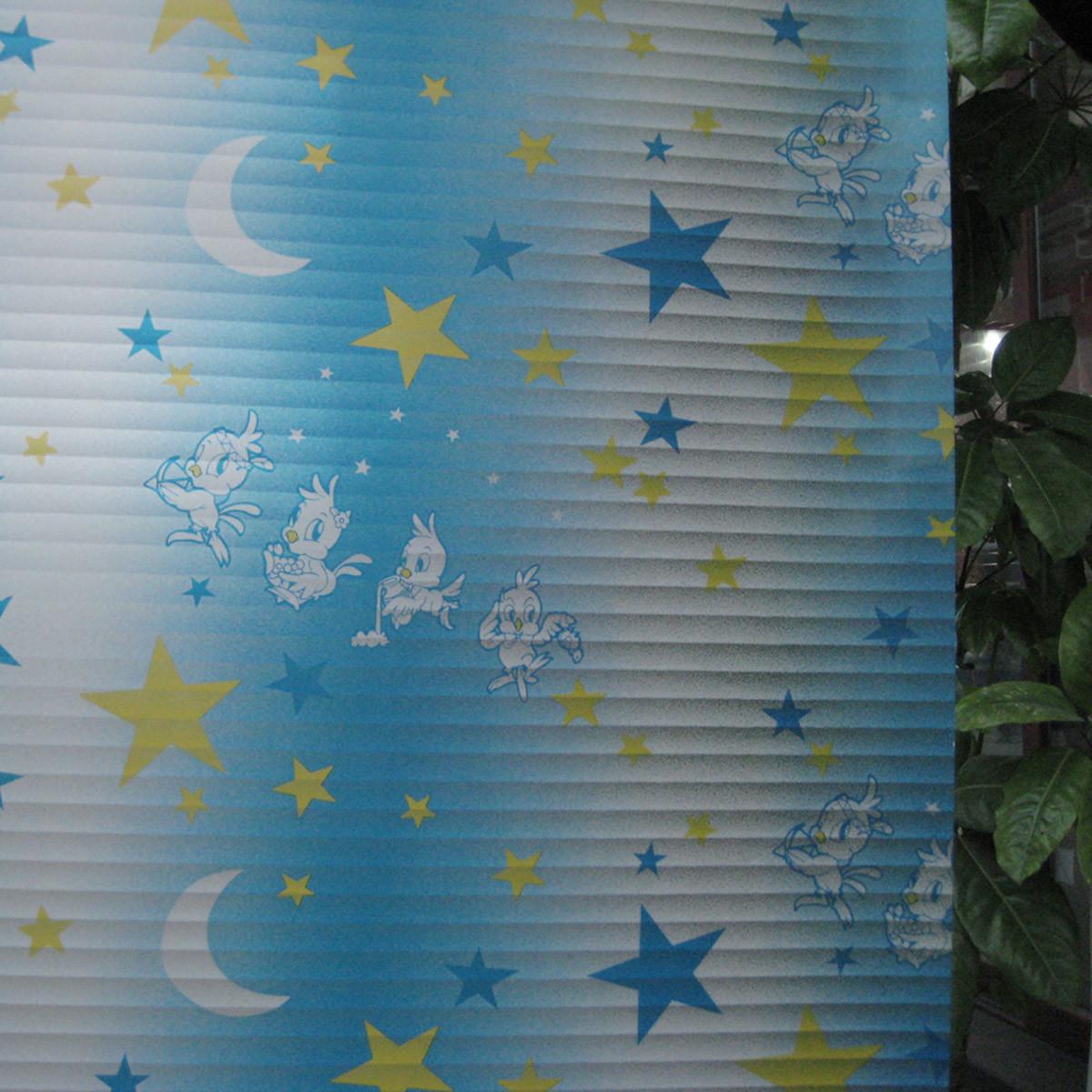 鸿轩 星星月亮(百叶纹)风景 玻璃贴膜