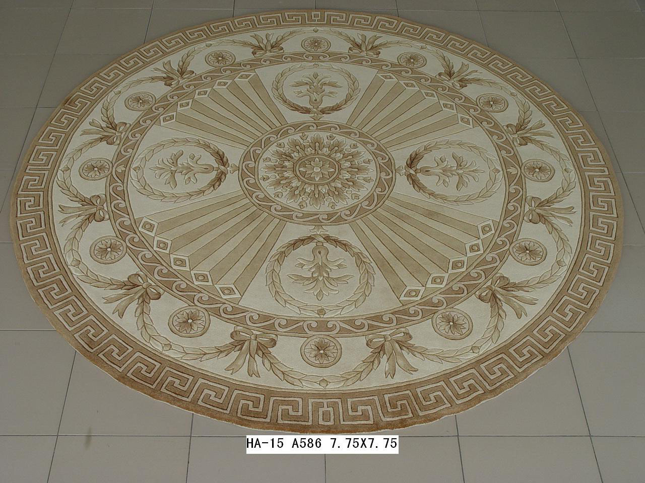 峥嵘毯业 纯羊毛美式乡村叶子圆形欧美手工织造 地毯