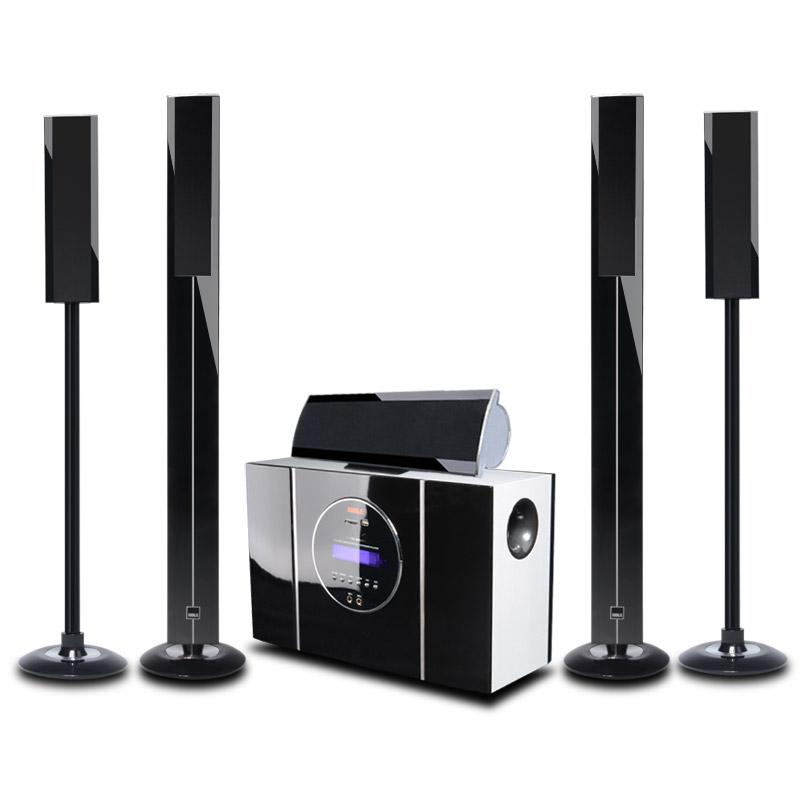 狮乐 黑色仅有功放无碟机模拟传输数字传输木音柱式 家庭影院