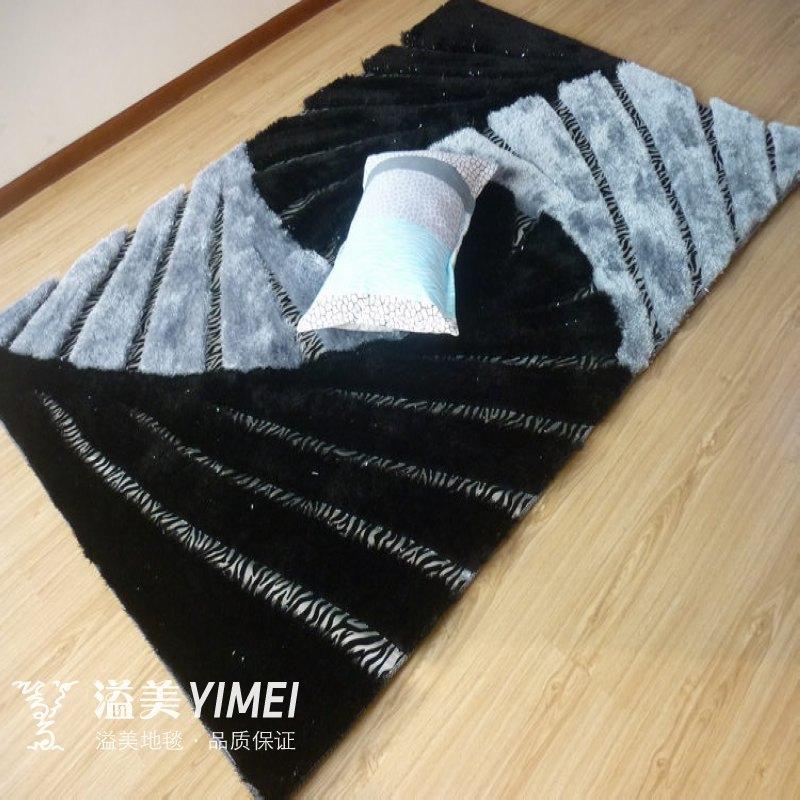 溢美黑灰条纹简约现代几何图案长方形日韩手工织造地毯