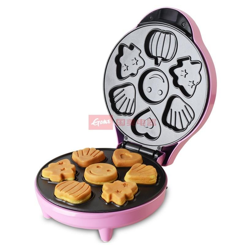 红心 粉色双面加热特氟龙不粘涂层悬浮式 电饼铛