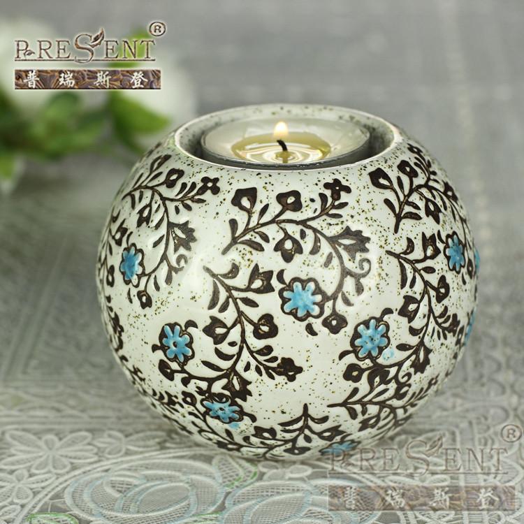 普瑞斯登陶瓷杯状蜡烛简约现代烛台