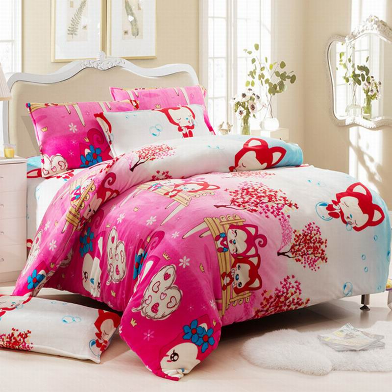 皇家皇朝 法兰绒所有人群四件套床单式欧洲风格活性印花 幸福阿狸床品件套四件套